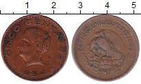 Изображение Монеты Мексика 5 сентаво 1954 Бронза XF
