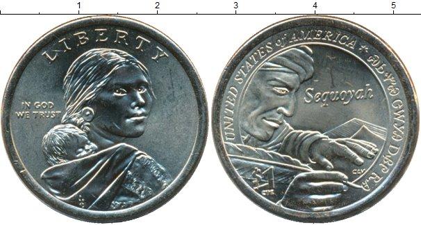 Картинка Мелочь США 1 доллар Латунь 2017