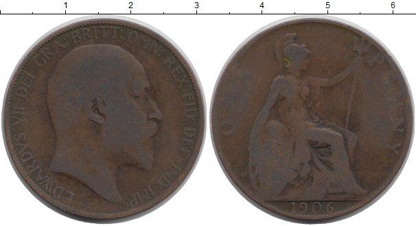 Картинка Дешевые монеты Великобритания 1 пенни Бронза 1906