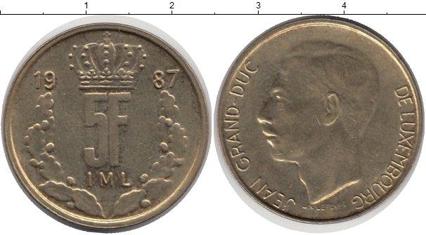 Картинка Барахолка Люксембург 5 франков сталь покрытая латунью 1987