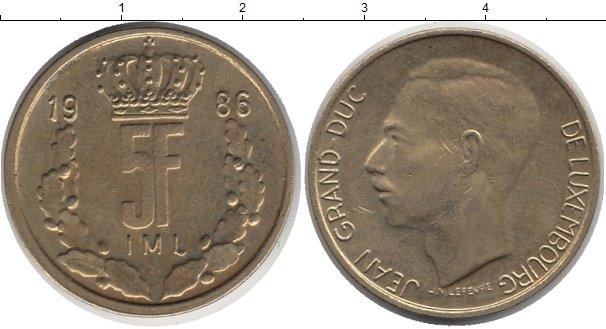 Картинка Дешевые монеты Люксембург 5 франков сталь покрытая латунью 1986