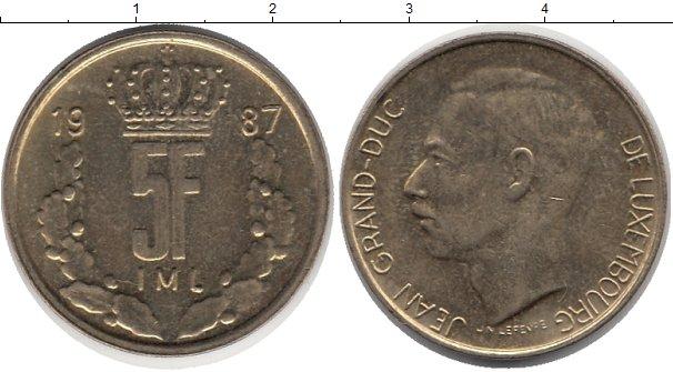 Картинка Дешевые монеты Люксембург 5 франков Бронза 1987
