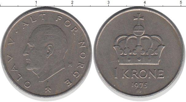 Картинка Дешевые монеты Норвегия 1 крона Медно-никель 1975