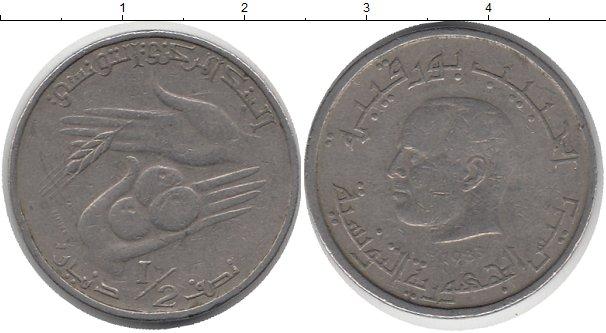 Картинка Дешевые монеты Тунис 1/2 динара Медно-никель 1983