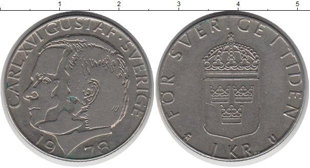 Картинка Барахолка Швеция 1 крона Медно-никель 1978