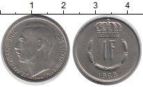 Изображение Дешевые монеты Люксембург 1 франк 1968 Медно-никель XF+