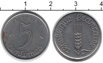 Изображение Дешевые монеты Франция 5 сантим 1964 Сталь XF