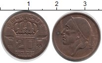 Изображение Дешевые монеты Бельгия 20 сантим 1959 Медь VF