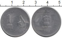 Изображение Дешевые монеты Индия 1 рупия 2009 нержавеющая сталь VF