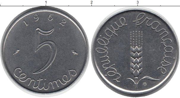 Картинка Барахолка Франция 5 сантимов Медно-никель 1962