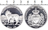 Изображение Монеты Сан-Марино 10000 лир 1996 Серебро Proof Защитим  дикую  прир