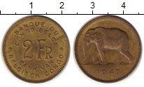 Изображение Монеты Бельгийское Конго 2 франка 1947 Латунь XF Слон.