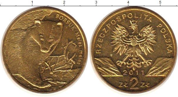 Монета 2 злотых барсук пароход фрегат владимир