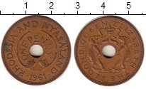 Изображение Монеты Великобритания Родезия 1 пенни 1961 Медь XF