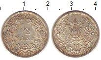 Изображение Монеты Германия 1/2 марки 1914 Серебро XF