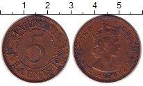 Изображение Монеты Маврикий 5 центов 1975 Медь XF