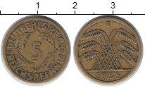 Изображение Монеты Веймарская республика 5 пфеннигов 1925 Латунь XF