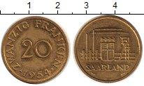 Изображение Монеты Саар 20 франков 1954 Медь XF