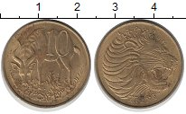 Изображение Монеты Эфиопия 10 центов 0 Латунь XF Лев