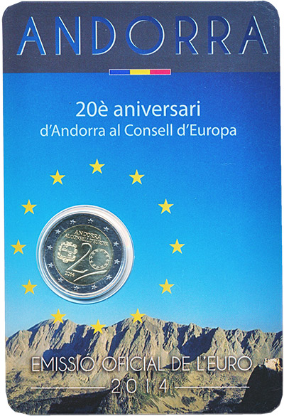 Изображение Подарочные монеты Андорра 2 евро 2014 Биметалл UNC 20 лет Андорра в Сов