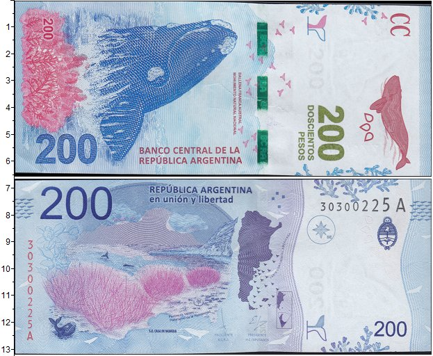 Картинка Боны Аргентина 200 песо  2016