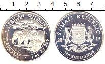 Изображение Монеты Сомали 100 шиллингов 2013 Серебро Proof- Слоны
