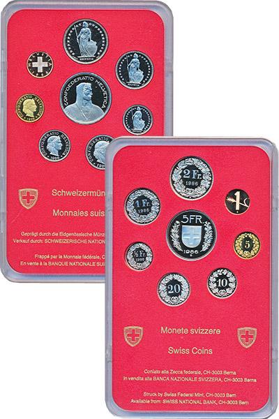 Изображение Подарочные монеты Швейцария Набор 1986 года 1986  Proof В набор входят восем