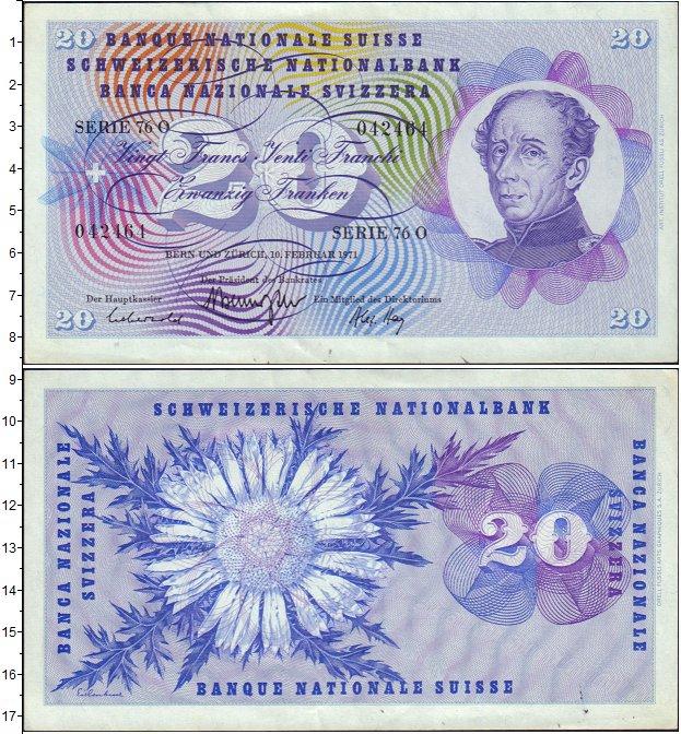 Картинка Банкноты Швейцария 20 франков  1971