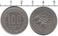 Изображение Монеты Центральная Африка 100 франков 1998 Медно-никель XF Антилопы.