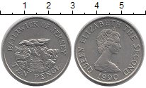 Изображение Монеты Гернси 10 пенсов 1990 Медно-никель UNC- Елизавета II