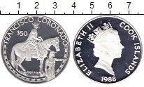 Изображение Монеты Острова Кука 50 долларов 1988 Серебро Proof- Франсиско Васкес де