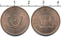 Изображение Монеты Уганда 5 центов 1966 Медь XF