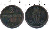 Изображение Монеты Ганновер 2 пфеннига 1853 Медь VF