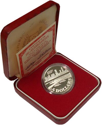 Изображение Подарочные монеты Сингапур Мост Бенджамина Ширса 1982 Серебро Proof Монета номиналом 5 д