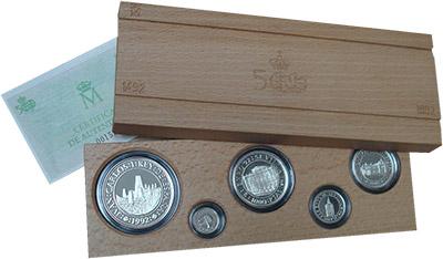 Изображение Подарочные монеты Испания 500 лет Открытия Америки 1992 Серебро Proof <br>`Набор ``500 лет