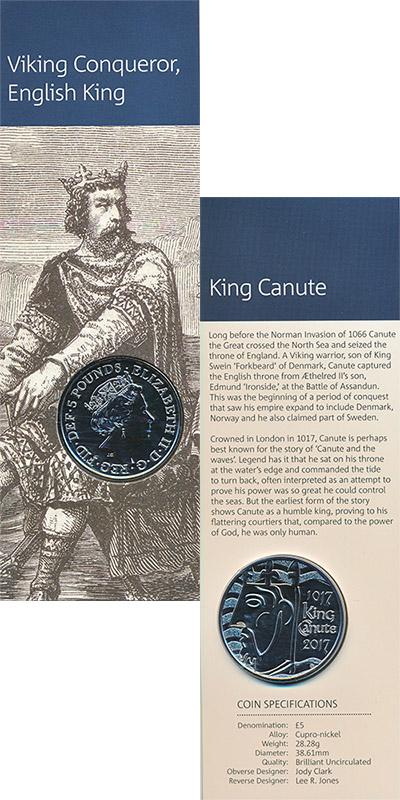 Изображение Подарочные монеты Великобритания Король Кнуд I 2017 Медно-никель BUNC Монета номиналом 5 ф
