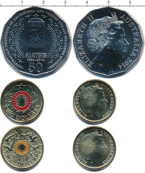 Картинка Наборы монет Австралия Австралия 2014-2015 Медно-никель 2014
