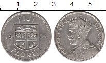 Изображение Монеты Фиджи 1 флорин 1934 Серебро XF Георг V.