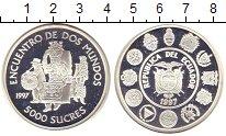Изображение Монеты Эквадор 5000 сукре 1997 Серебро Proof Встреча двух миров