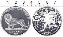 Изображение Монеты Конго 10 франков 2004 Серебро Proof Чемпионат  мира  по