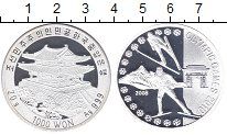 Изображение Монеты Северная Корея 1000 вон 2008 Серебро Proof Олимпиада 2010.