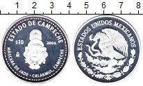 Изображение Монеты Мексика 10 песо 2006 Серебро Proof Штат  Кампече.