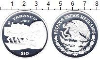 Изображение Монеты Мексика 10 песо 2007 Серебро Proof Табаско.