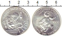 Изображение Монеты Ватикан 2000 лир 2000 Серебро UNC Понтифик  Иоанн  Пав