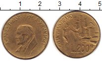 Изображение Монеты Ватикан 200 лир 1991 Латунь UNC