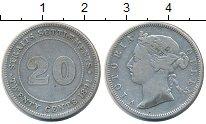 Изображение Монеты Стрейтс-Сеттльмент 20 центов 1891 Серебро VF