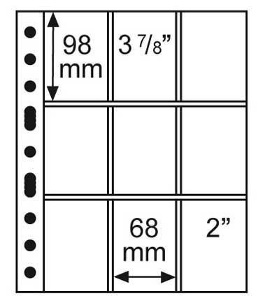 Изображение Аксессуары для монет Vario / Grande Лист GRANDE 3/3 C  для бон, на 9 бон 0   Лист предназначен дл
