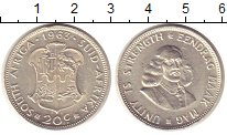 Изображение Монеты ЮАР 20 центов 1963 Серебро XF Йохан  Ван  Рибек.