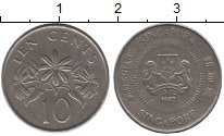 Изображение Монеты Сингапур 10 центов 1987 Медно-никель XF Флора.