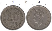 Изображение Монеты Малайя 10 центов 1948 Медно-никель XF Георг VI.